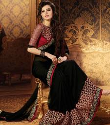 Buy black embroidered faux georgette saree With Blouse party-wear-saree online