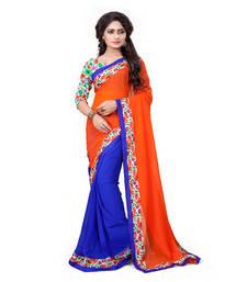 Buy orange printed chiffon saree With Blouse printed-saree online