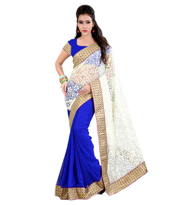 blue plain brasso saree With Blouse
