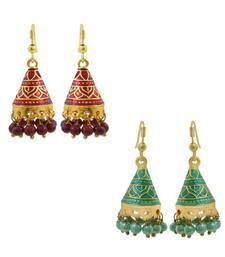 Buy Entrancing meenakari cone-shape jhumki combo jhumka online