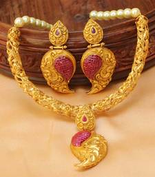 Buy Awesome Designer One gram gold  Necklace set with earrings south-indian-jewellery online