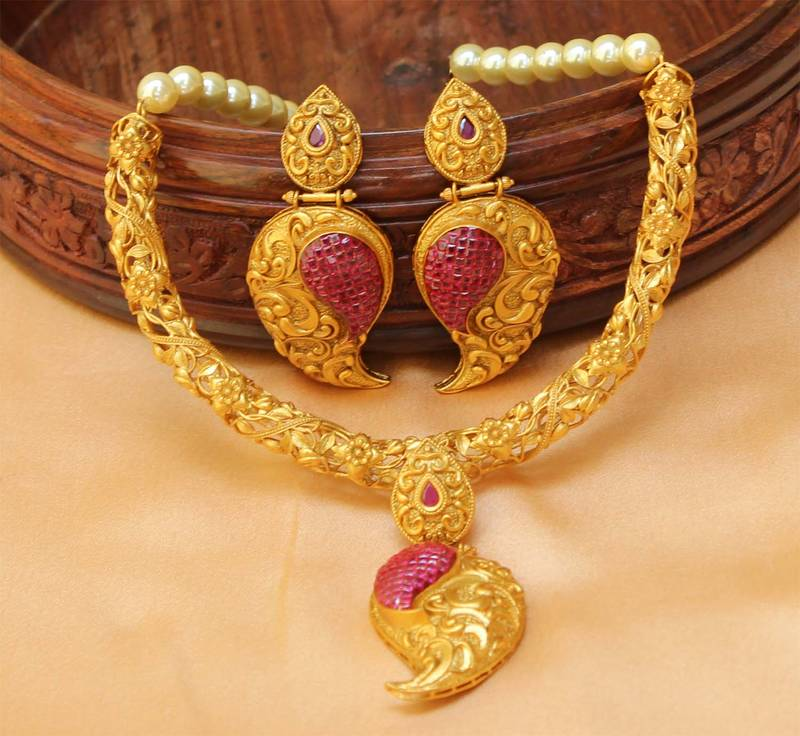 Buy Awesome Designer One gram gold Necklace set with earrings Online