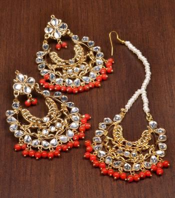 Kundan and Red Beads Embellished Dangler Earrings cum Maang Tika 217MT28