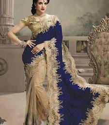 Buy blue embroidered net saree With Blouse heavy-work-saree online
