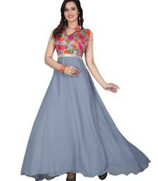Buy Grey georgette printed semi stitiched indian anarkali gown party-wear-gown online