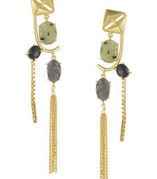 Buy Golden Earrings with Labrorite Graymoon And Black Onex Stones danglers-drop online