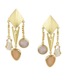 Buy Golden Earrings with Pink Opal and Baige and  Viva Peal Stones danglers-drop online