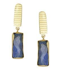 Buy Golden Earrings with Lapis Stone stud online