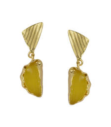 Buy Golden Earrings with Yellow Moon Stone stud online