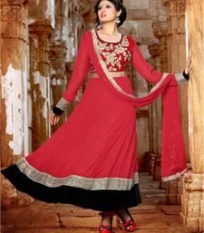 Buy Red georgette embroidered semi stitched salwar with dupatta anarkali-salwar-kameez online