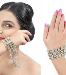 Buy Trendy Austrian Stone Occasion Wear With Sarees Gowns in Gold Finishing Bracelet Bracelet online