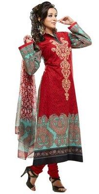 Triveni Adorable Red Indian Ethnic Salwar Kameez TSXKRSK1205