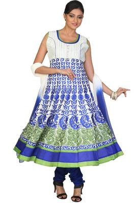 Off-white and Persian Blue Cotton Readymed Embroidered Party Anarkali Salwar Kameez