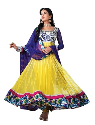 Triveni Charismatic Yellow Indian Traditional Anarkali Suit TSXSNSK5557