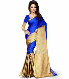 Buy blue plain cotton poly saree With Blouse cotton-saree online
