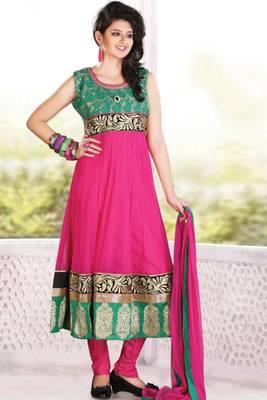 Persian-rose Pink Net Embroidered Party and Festival Readymed Anarkali Salwar Kameez