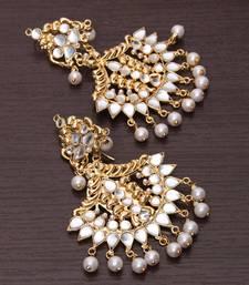 Buy Kundan and Beads Embellished Dangler Earrings 217ED108 tote-bag online