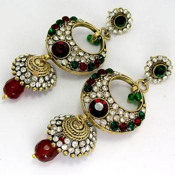 Elegant Victorian Danglers with Tokri Green Red