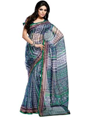 Kalazone Green,Blue,White  Printed Flower Print Super Net Saree WS20524