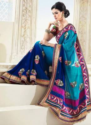 Enthralling Shaded Blue Faux Georgette Saree with Blouse
