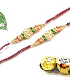 Buy Multicolour different stone beads and metallic casting rakhi with chocolates rakhi-with-chocolate online