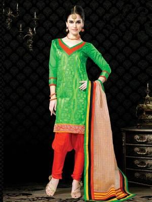 Kalazone Green,Orange Chanderi Silk Salwar Kameez D8248/S3