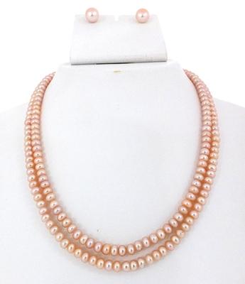 Two Line Peach Colour Button Pearl Set