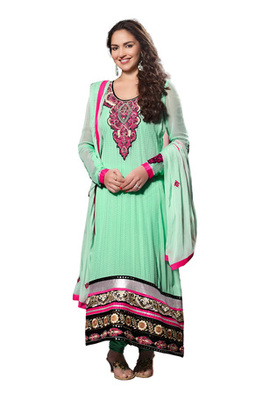 Fabdeal Party Wear Light Turquoise Colored Pure Georgette Salwar Kameez