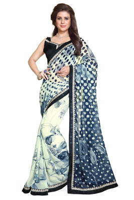 off_white printed georgette saree With Blouse