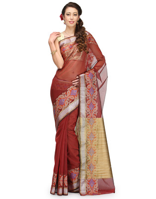 maroon woven super net saree With Blouse