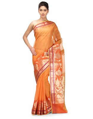 orange woven super net saree With Blouse