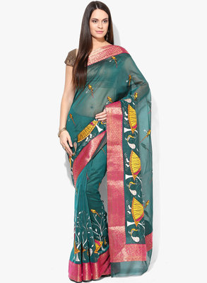 green woven super net saree With Blouse