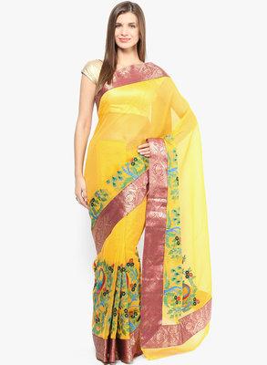golden woven super net saree With Blouse