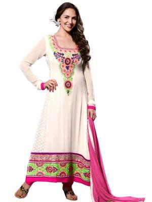 Kalazone White Silk,Georgette Salwar Kameez D8234/S3