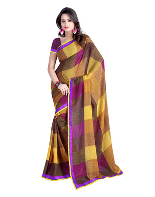 Yellow & Brown Colored Chiffon Printed Saree