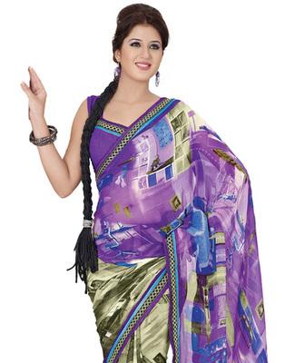Purple Colored Georgette Saree