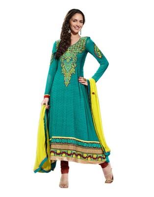 Teal & Brown Colored Pure Georgette Salwar Kameez Semi-Stitched Salwar Suit