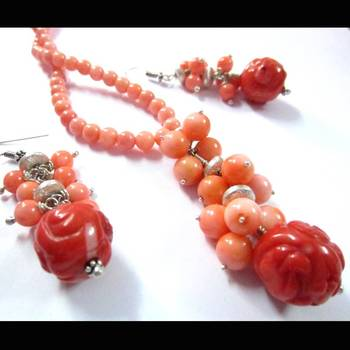 Bamboo coral necklace set