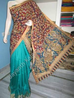 kalamkari half and half saree