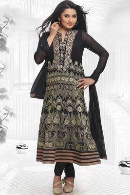Black Faux Georgette Embroidered Readymed Party and Festival Anarkali Salwar Kameez