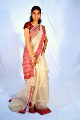 Organza silk dyeable banarasi saree