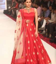 Buy Red banglori silk embroidered semi stitched salwar with dupatta eid-special-salwar-kameez online