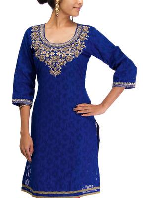 Cotton Jacquard embroidered kurti - Dark Blue Color 1407.