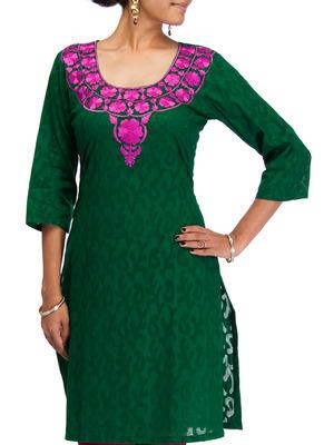 Cotton Jacquard embroidered kurti - Dark Green Color 1417.