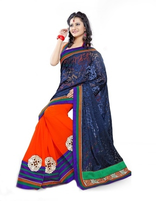 Triveni Fashionable Border Work Orange Colored Indian Designer Exquisite Saree