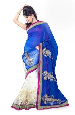 Triveni Fashionable Embroidered Blue Colored Indian Designer Exquisite Saree