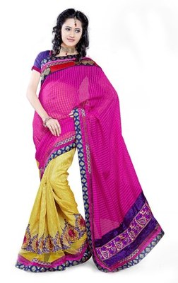 Triveni Fashionable Embroidered Yellow Colored Indian Designer Exquisite Saree