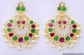 ROYAL STONE STUDDED REAL PEARL DROPS CHAAND BAALI/HANGINGS/EARRINGS (AD RUBY EMRALD) - PCE1048