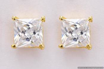 ELEGANT SINGLE STONE STUDDED SQUARE TOPS/STUDS/EARRINGS (AD) - PCE1070