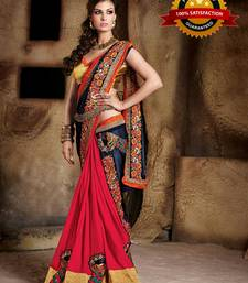 Buy Blue and Red embroidered georgette saree with blouse party-wear-saree online